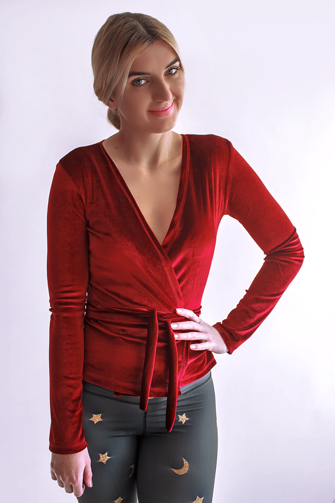 Long Sleeved Velvet Top Red