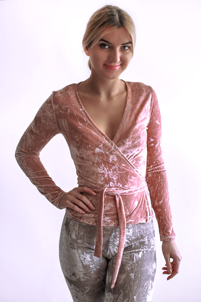 Amaryllis Velvet Top- Rose Quartz - Arthletic Wear