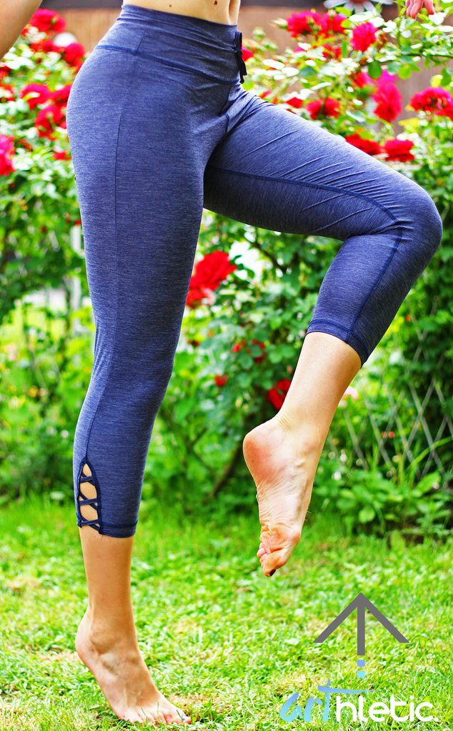 Grey Simplicity Criss-Cross Capris (S) - Arthletic Wear
