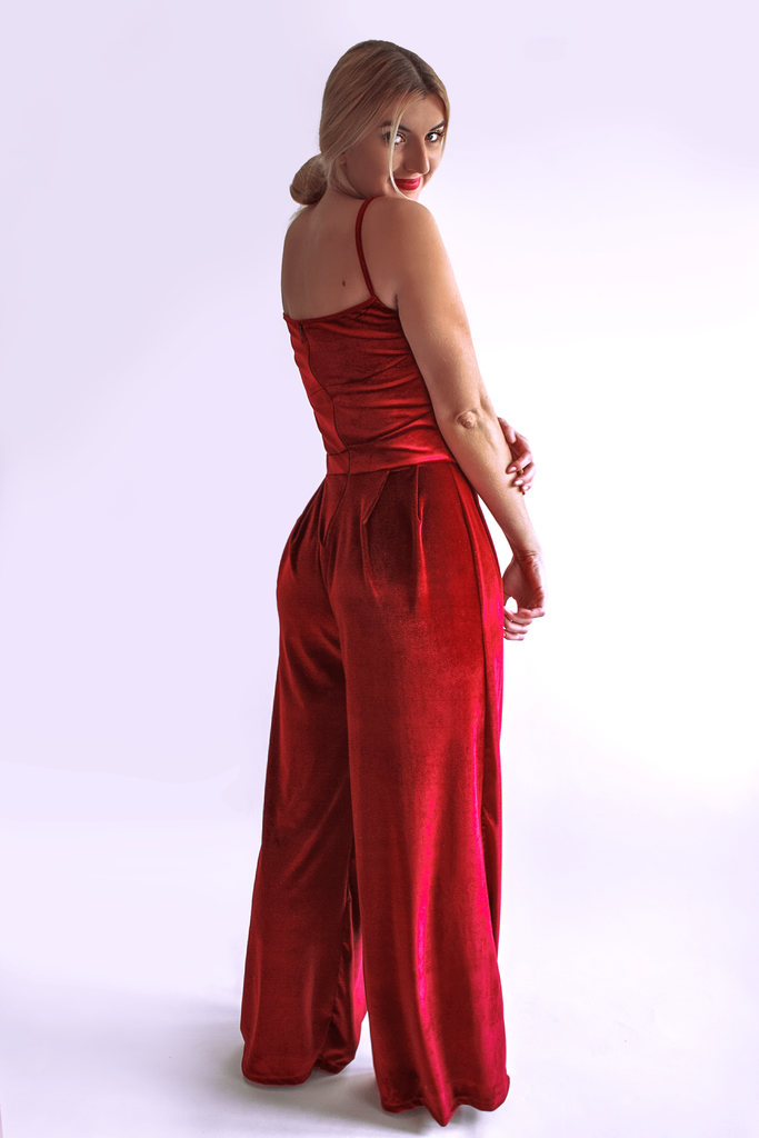 Burgundy Crimson Deep Red Velvet Romper by Arthletic Wear. What to Wear for Holiday Party.
