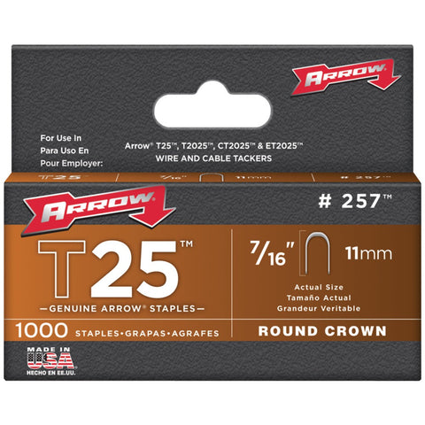 "T25-Round-Crown-Staple-7/16"";-1000-pk-For-use-with-T25-stapler-Accepts-wire-up-to-1/4""-in-dia--257"