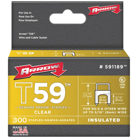 "Clear-T59-Insulated-Staples-for-RG59-quad-&-RG6-5/16""-x-5/16""-300-pk-For-use-with-RG59-quad-&-RG6-staple-gun-5/16""-x-5/16""-591189"