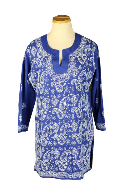 Royal Blue Paisley With A Full Front Embroidery Shopkikisol