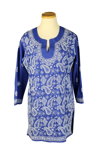 Royal Blue Paisley with a Full-Front Embroidery