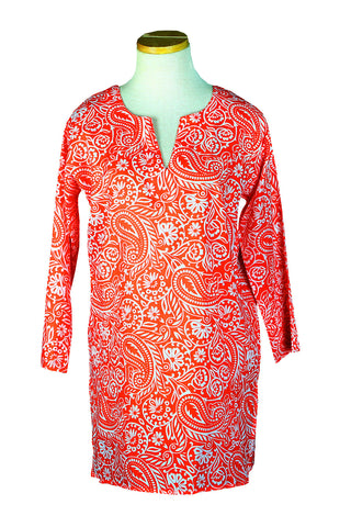 Papaya and White Paisley Tunic