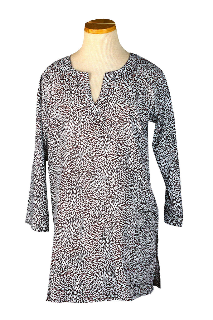 Black and White Mums KikiSol Tunic