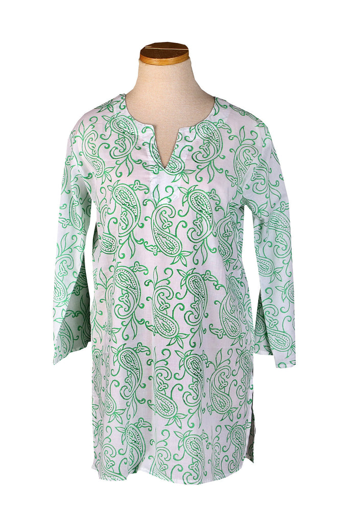 Kelly Green Block Paisley KikiSol Tunic