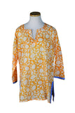 Holi Orange KikiSol Tunic with Gray Blue Trim