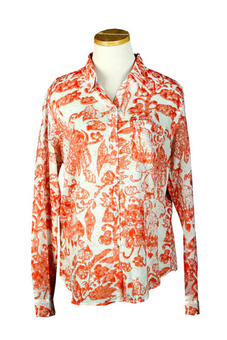 Holi Collection Coral Over-Sized KikiSol Boyfriend Shirt