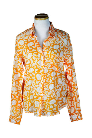 Holi Collection Orange Button Down Shirt