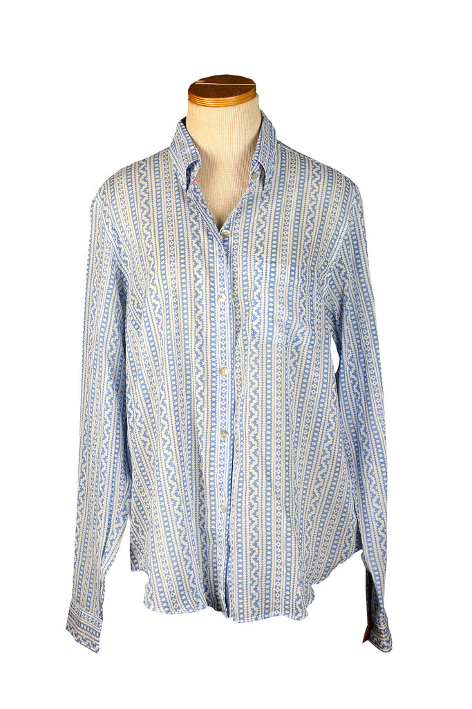 Holi Collection Gray Blue Button Down Shirt