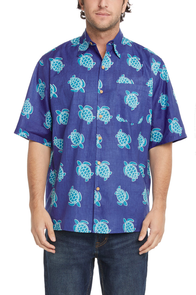 Men's Simpatiko Royal Blue and Teal Turtle Short-Sleeved Button Down Shirt