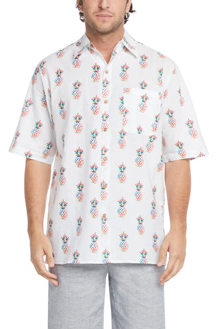 Men's Simpatiko Multi-Colored Pineapple Short-Sleeved Button Down Shirt
