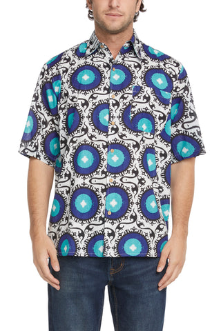 Men's Simpatiko Royal Blue and Teal Suzani Short-Sleeved Button Down Shirt