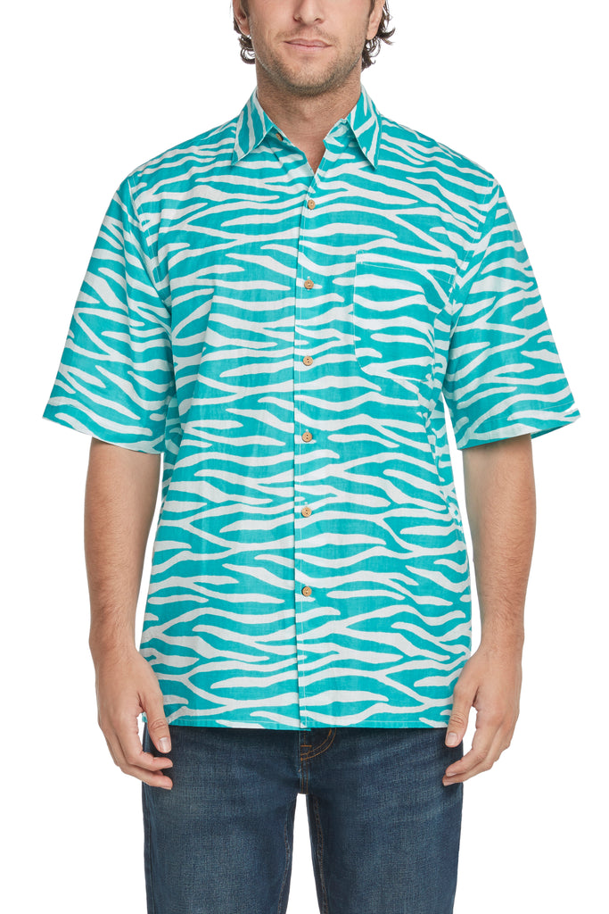 Men's Aqua Water Short-Sleeved Button Down Shirt