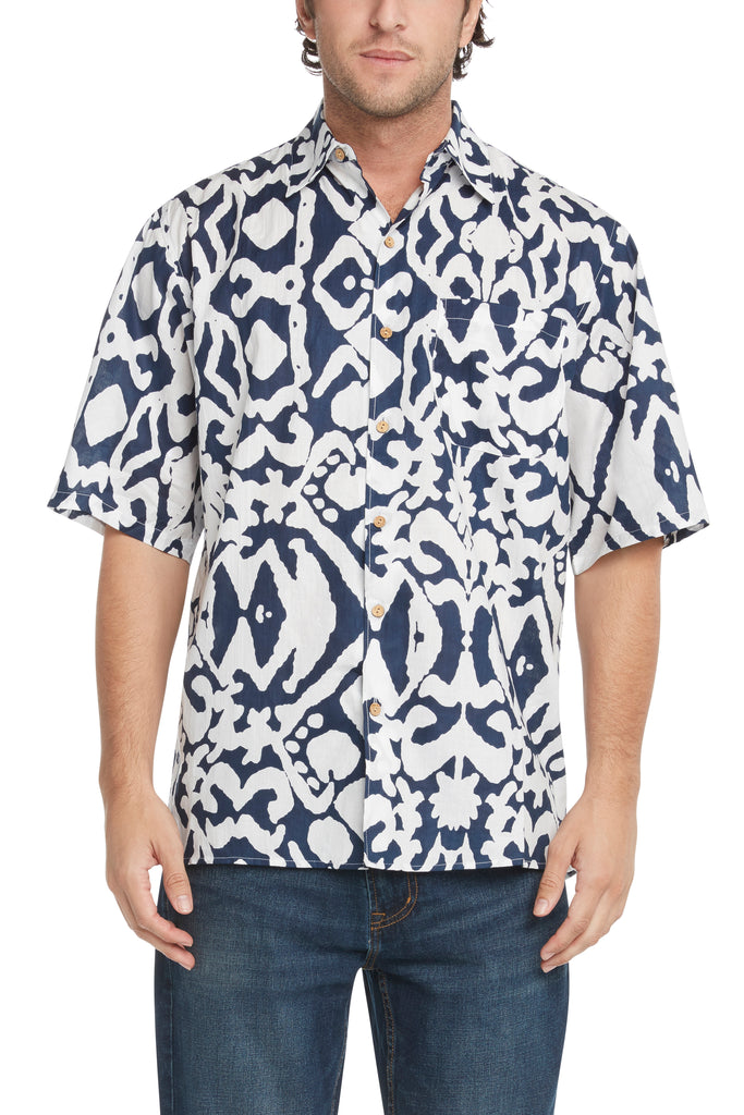 Men's Simpatiko Navy and White Aborigine Short-Sleeved Button Down Shirt