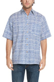 Men's Simpatiko Royal Blue Striped Ibiza Short-Sleeved Button Down Shirt