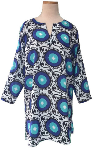 Royal Blue and Aqua Suzani KikiSol Tunic