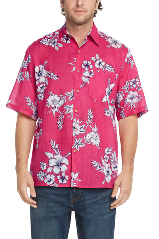Men's Simpatiko Raspberry and Navy Hibiscus Short-Sleeved Button Down Shirt
