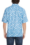 Men's French Blue Birds Short-Sleeved Button Down Shirt