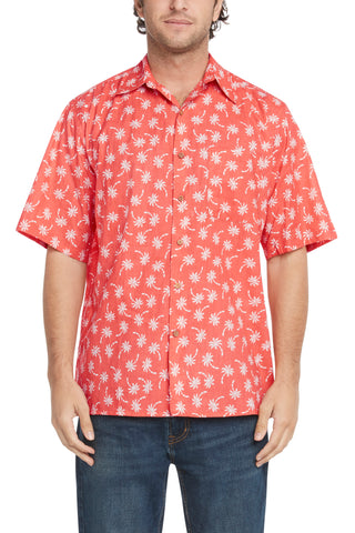 Men's Salmon Palms Short-Sleeved Button Down Shirt