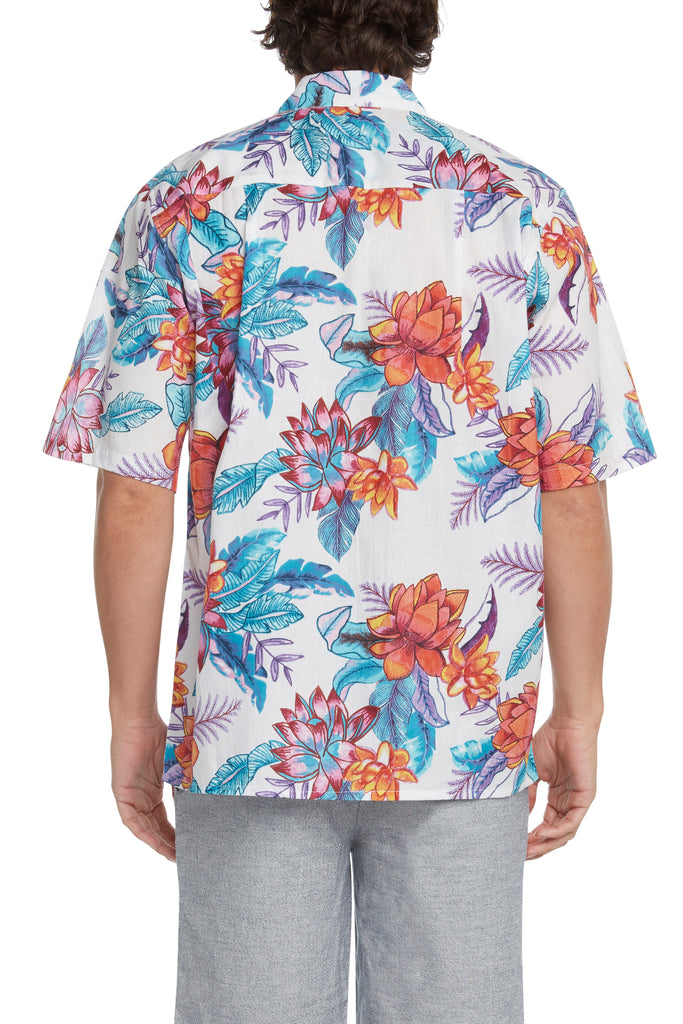 Men's Painted Floral Short-Sleeved Button Down Shirt