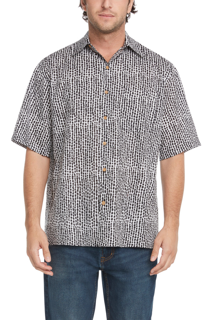 Men's Simpatiko Black Striped Dots Short-Sleeved Button Down Shirt