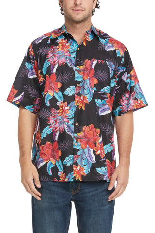 Men's Black Back and Multi Painted Floral Short-Sleeved Button Down Shirt