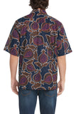 Men's Navy Brown and Raspberry Guava Short-Sleeved Button Down Shirt