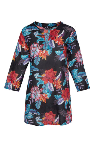 Black Painted Floral KikiSol Tunic