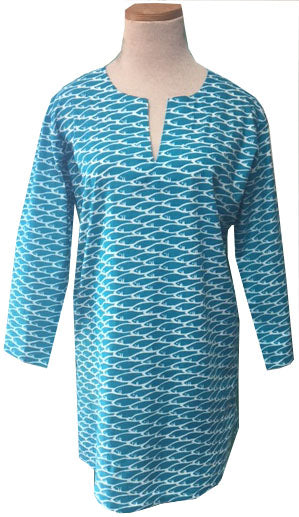 Teal Fish with White KikiSol Tunic
