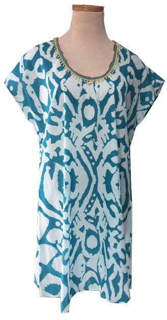 Teal Aborigine Beaded Swing Dress