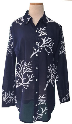 Navy Over-sized Coral KikiSol Boyfriend Shirt