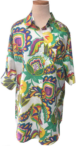 New! White Turkish Floral KikiSol Boyfriend Shirt