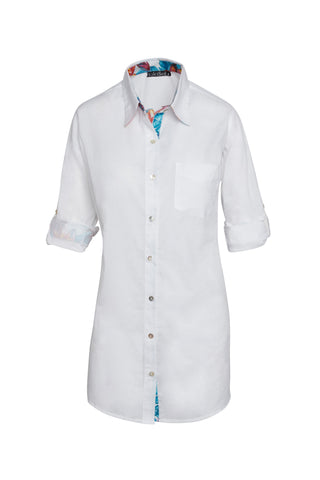 KikiSol Boyfriend Shirt Solid White Body with White Painted Floral Trim