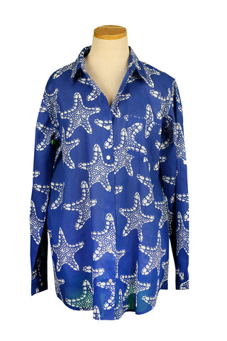 Royal Blue and White Starfish Button Down Shirt
