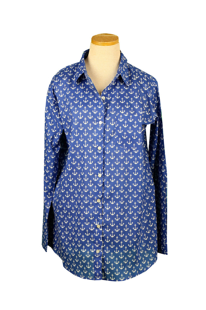 Royal Blue and White Anchor Over-Sized Boyfriend Shirt