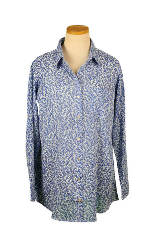 Royal Blue Coral Over-Sized KikiSol Boyfriend Shirt