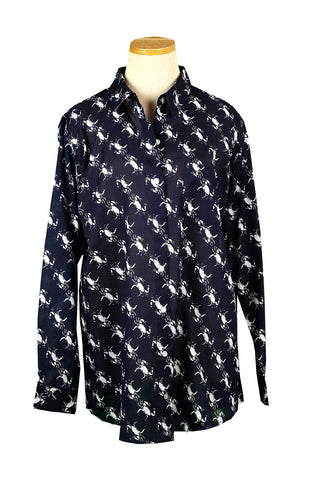 Navy and White Crab Over-Sized KikiSol Boyfriend Shirt