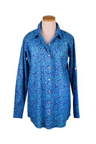Royal Blue and Turquoise Tahiti Over-Sized KikiSol Boyfriend Shirt
