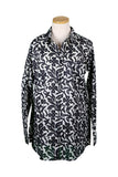 Black and White Floral KikiSol Over-Sized Boyfriend Shirt
