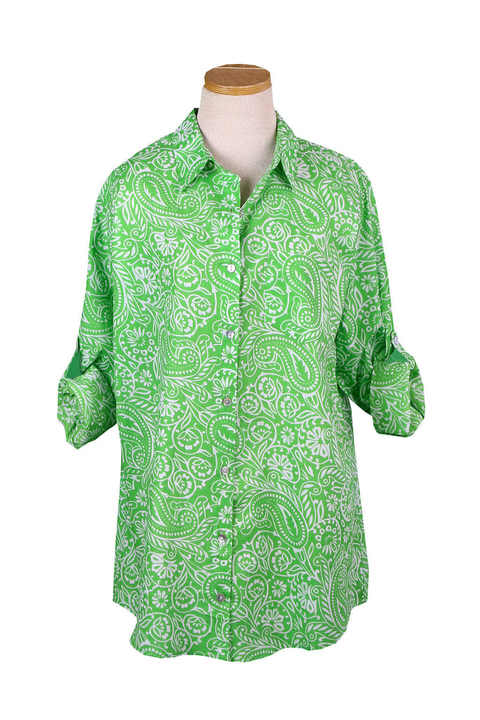 Lime Paisley Over-Sized Boyfriend Shirt