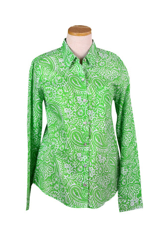 Lime Green and White Paisley Button Down Shirt