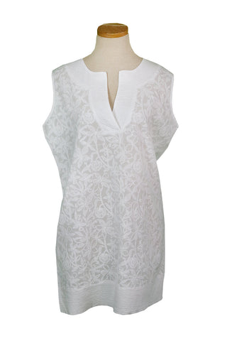 Sleeveless Tunic with White Paisley Embroidery