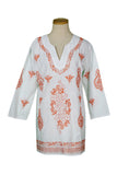 Orange and White Abstract Embroidered Tunic