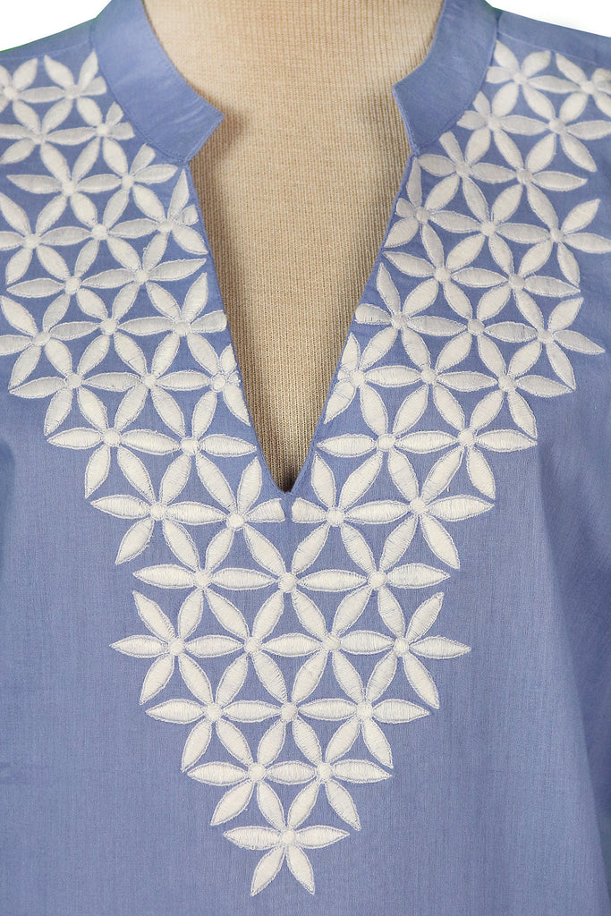Embroidered Floral White on Gray Blue