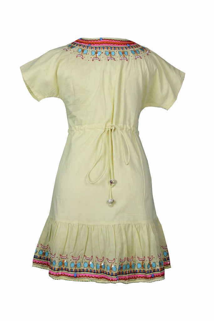Yellow Butterfly Embroidered and Beaded Tunic