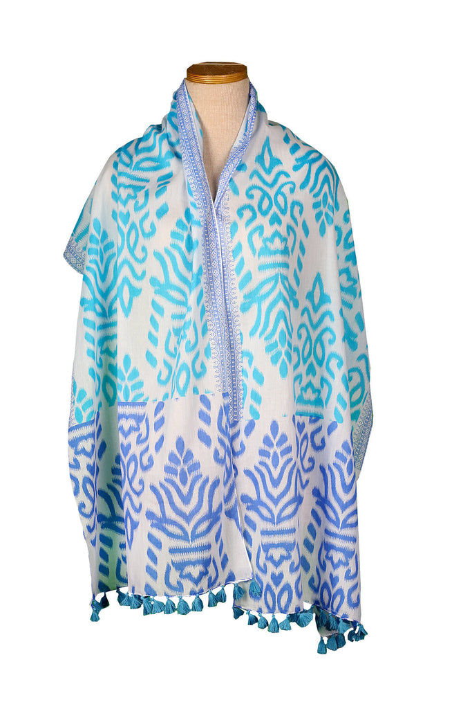 Turquoise and Royal Blue Geometric Scarf