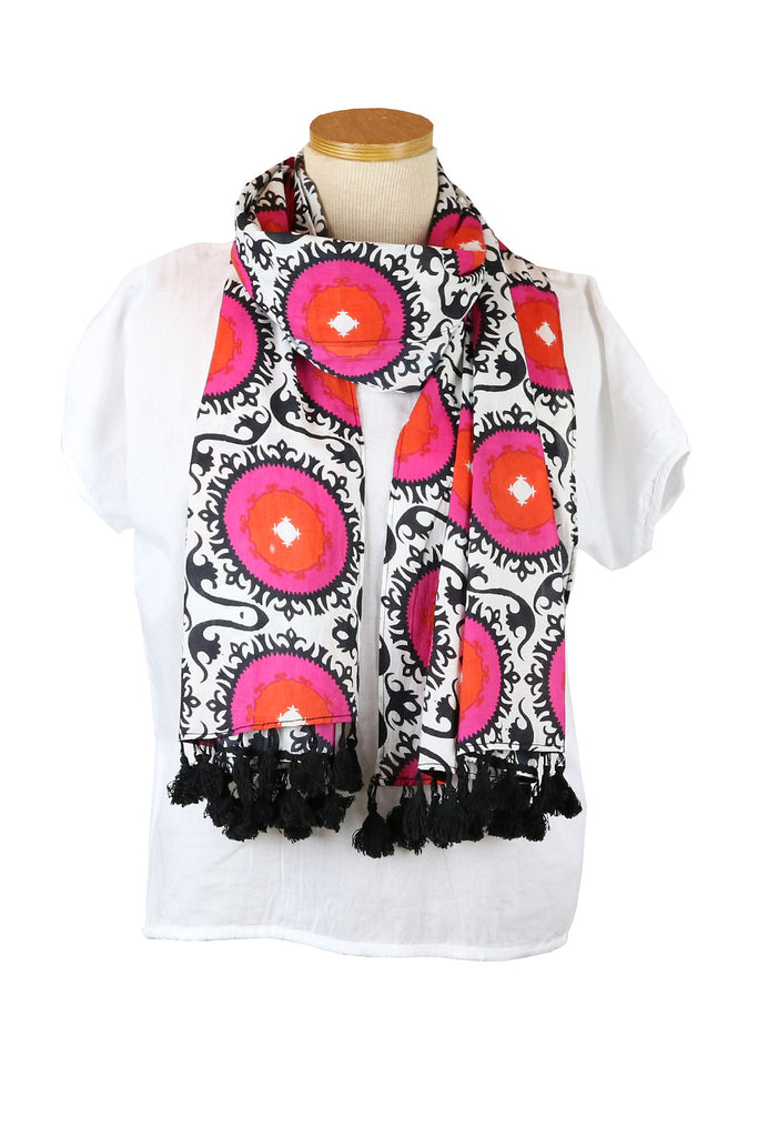 Pink Suzani Scarf with Black Tassels