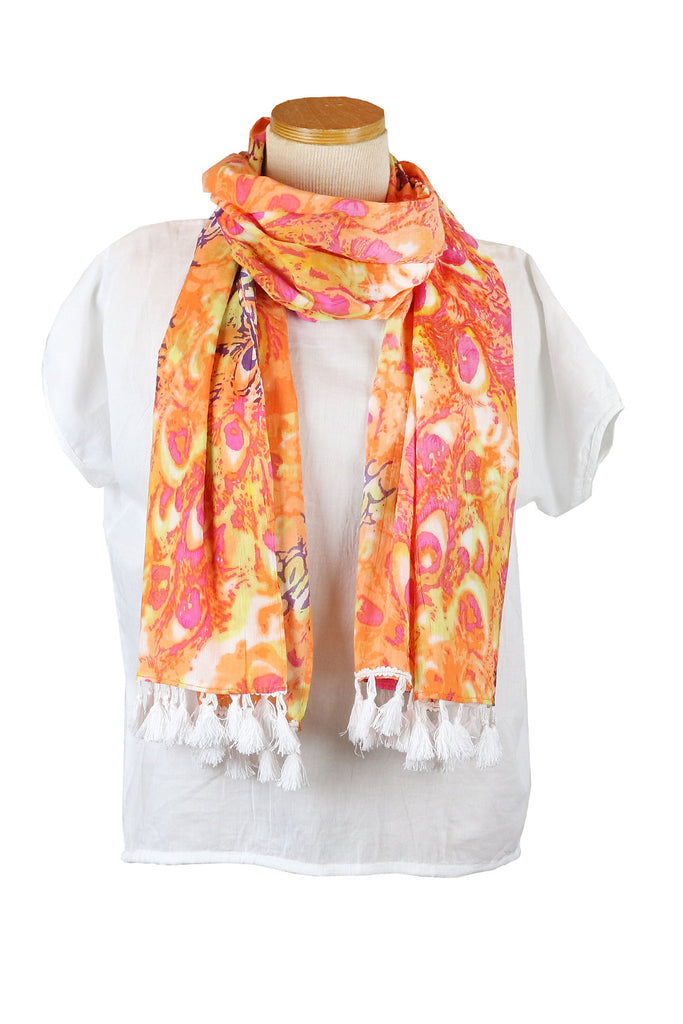 Salmon Peacock Scarf with White Tassels